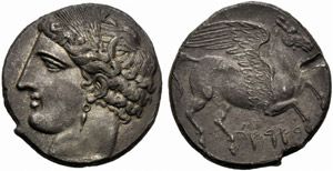 Dominio Punico, 5 Shekels - Decadramma, ...