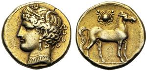 Dominio Punico, Trihemishekel, Cartagine, c. ...