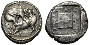 Macedonia, Tetradramma, Acanto, c. 460-420 ...