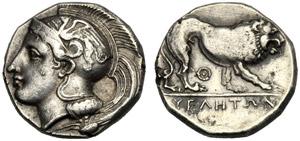 Lucania, Didramma, Velia, c. 340-334 a.C.; ...