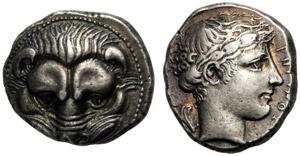 Bruttium, Tetradramma, Reggio, c. 415-387 ...