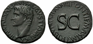 Augusto (27 a.C. - 14 d.C.), Asse, Roma, ...