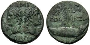 Augusto (27 a.C. - 14 d.C.), Bronzo, Gallia: ...