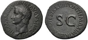 Tiberio (14-37), Asse, Roma, 21-22 d.C.; AE ...