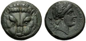 Bruttium, Bronzo, Reggio, c. 415-387 a.C.; ...