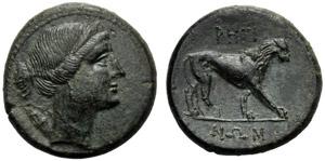 Bruttium, Bronzo, Reggio, c. 260-215 a.C.; ...