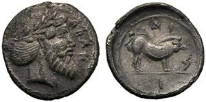 Sicilia, Litra, Abakainon, c. 450-440 a.C; ...
