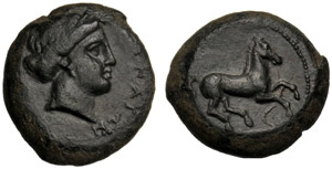 Sicilia, Aitna, Tetras, c. 357-344 a.C.; AE ...