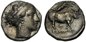 Campania, Didramma, Napoli, c. 350-325 a.C.; ...