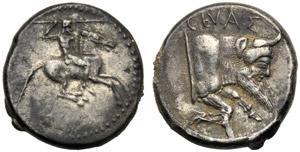 Sicilia, Didramma, Gela, c. 490-475 a.C.; AR ...