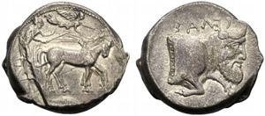 Sicilia, Tetradramma, Gela, c. 440-430 a.C.; ...