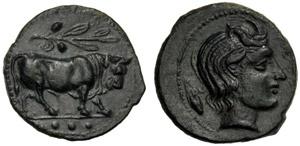 Sicilia, Tetras, Gela, c. 420-405 a.C.; AE ...