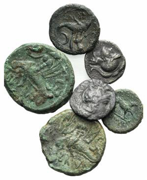 Lot of 6 Greek coins, including 2 AR Diobols ...