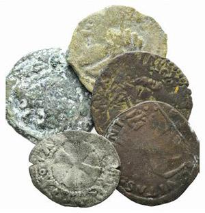 Lot of 6 coins, including 1 Greek Æ, 1 ...