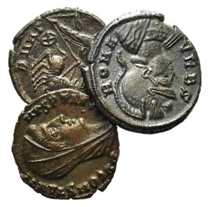 Lot of 3 late Roman Æ coins, including ...