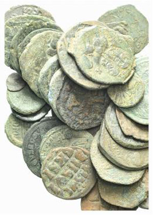 Lot of 35 Æ Byzantine coins, to be catalog. ...