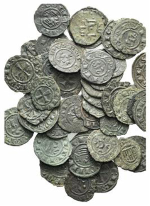 Lot of 50 BI Italian Medieval coins, to be ...