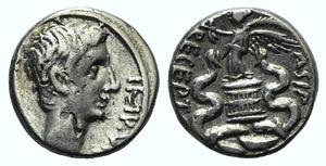 Octavian (29-28 BC). AR Quinarius (12mm, ...