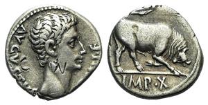 Augustus (27 BC-AD 14). AR Denarius (16mm, ...