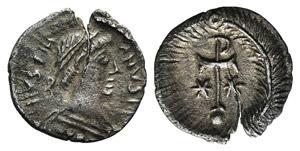 Justinian I (527-565). AR Half Siliqua ...