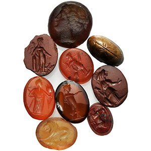 Group of nine carnelian and agate with ...