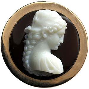 Banded agate cameo with female portrait bust ...