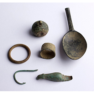 Group of six bronze objects 1st  century BC ...