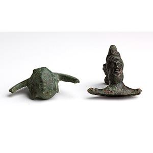 Two bronze handle attachments 1st  century ...