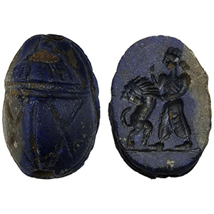 Lapis lazuli scarab with king fights lion ...