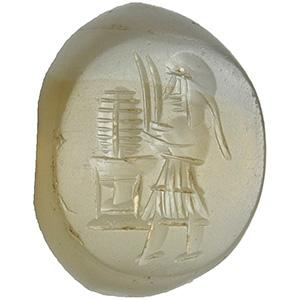 Chalcedony with Zoroastrian ritual scene ...