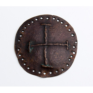 Copper stud with cross 9th - 10th century; ; ...