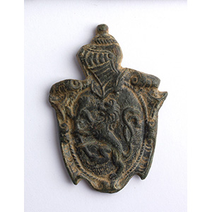 Bronze stud with a rampant lion 17th - 18th ...