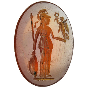 Carnelian with Athena and winged Victory ...