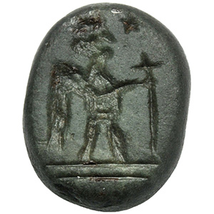 Obsidian magical gem with eagle-headed ...