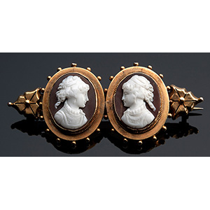 15K Victorian yellow gold agate cameo ...
