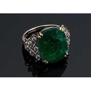 18K AND 21K GOLD, EMERALD DIAMOND RING; ; ...