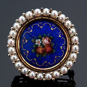 18K GOLD ENAMELS AND PEARLS BROOCH-PENDANT; ...