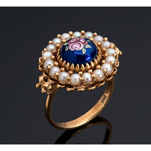 18k gold enamels and micro-pearls ring; ; ...