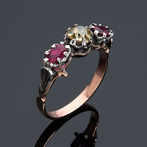 12K gold and silver diamon AND RUBY RING -  ...
