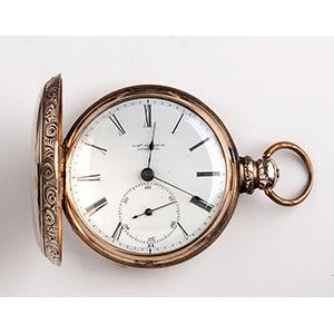 Solid 14K gold hunter pocket watch,  JOSEPH ...