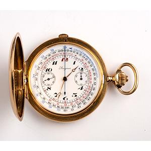 Solid 18K gold chronograph hunter pocket ...