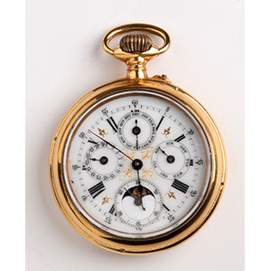 Moonphase calendar pocket watch, Swiss 1900 ...