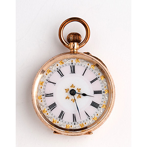 Solid 14K gold pocket watch; ; the case is ...
