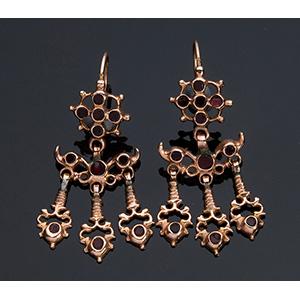Orecchini pendenti in oro 15K - fine XVIII ...