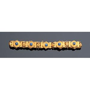 18K gold  sapphire bracelet; ; Archaelogical ...