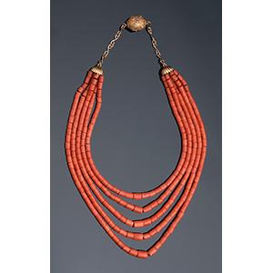 18K gold coral necklace; ; 5 strands of ...