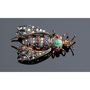 14K gold insect brooch; ; set with rose cut ...
