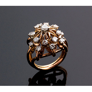Vintage 18K gold diamond Ring - 1950s ...