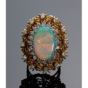 Anello Vintage in oro 18K con opale e ...