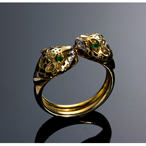 Vintage 14K gold feline head Ring -  ...